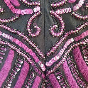 Parker Dresses - Parker Black Beaded/Embroidered Long Sleeve Dress